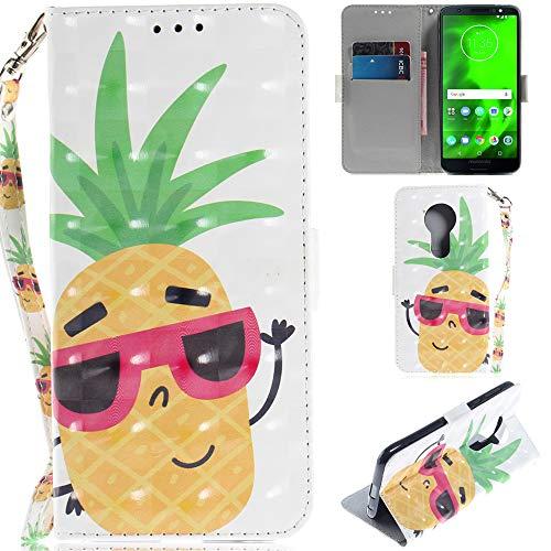 Ooboom Motorola Moto E5/G6 Play Hülle 3D Magnetische Flip PU Leder Schutzhülle Handy Tasche Hülle Cover Ständer mit Kartenfächer Trageschlaufe für Motorola Moto E5/G6 Play - Ananas