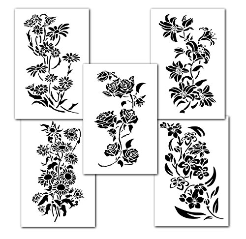 Mixed Flower Painting Stencils Wall Decorating...