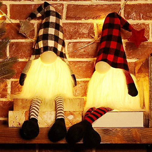 EDLDECCO Christmas Gnome with Light Timer 27 Inches Set of 2 Plaid Buffalo Check Nisse Figurine Plush Swedish Nordic Tomte Scandinavian Elf X'Mas Holiday Party Home Decor Ornaments (Red & Black)