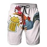 IconSymbol Gallo Gallo Bebiendo una Jarra de jarras de Cerveza Ale para Hombre Transpirable Troncos de baño Pantalones Cortos de Playa Pantalones Cortos de Tabl