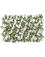 AACXRCR Uitbreiding van kunstmatige bloemhek - bloemblad hedg panelen houten hedge intrekbare trellis hek screening rol tuin decoratie privacyscherm schermen paneel voor balkon achtertuin thuis patio