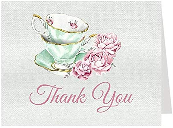 Tea Party Thank You Cards Bridal Shower Folding Notes Thanks Wedding Party Pink Mint Blush Elegant Chic Vintage Tea Cups Victorian 24 Count