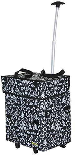 dbest products Bigger Smart Cart, Damask Collapsible Rolling Utility Cart Basket Grocery...