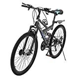 acction Adult Mountain Bikes 26 Inch Mountain Trail Bike High Carbon Steel Full Suspension MTB Speed Bicycles 6 Spoke 21 Speed ??Gears Dual Disc Brakes Outdoor Mountain Bicycle - US Stock (Black)