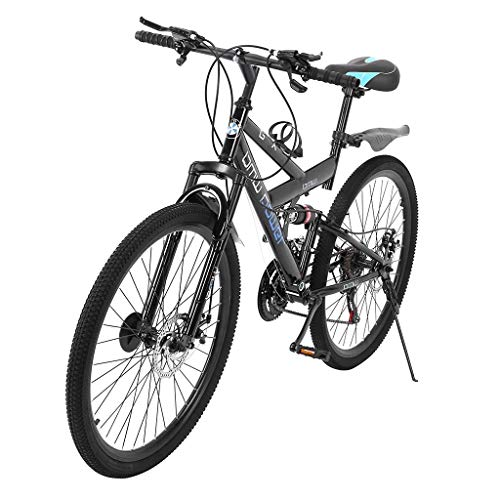 SSYUNO 26 Inch Mountain Trail Bike High Carbon Steel Full Suspension Frame Folding Bicycles 6 Spoke 21 Speed Dual Disc Brakes Bicycles for Adult Teens