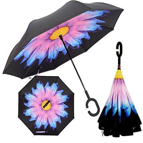 HanSemay ombrello rovesciato doppio strato di protezione antivento UA con le mani C-Shape per auto e uso esterno (bicchiere)