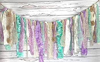 Purple & Mint Garland Rag Tie Banner: ~ Photo Shoot ~ Vintage ~ Wedding Decor ~ Nursery ~ Bridal Shower ~ Gender Reveal Party ~ Decorations ~ Photo Props ~ Banner ~ Wall Decor! (3 FEET WIDE)