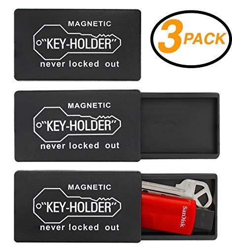 Ram-Pro 3 Stück 7,6 cm Kunststoff Hide-A-Key Lock Box Schlüsselhalter zum Verstauen eines Ersatzschlüssels für Ihr Zuhause, Lagerung, Büro, Fahrzeug, mit starkem magnetischen Boden hinten M Schwarz