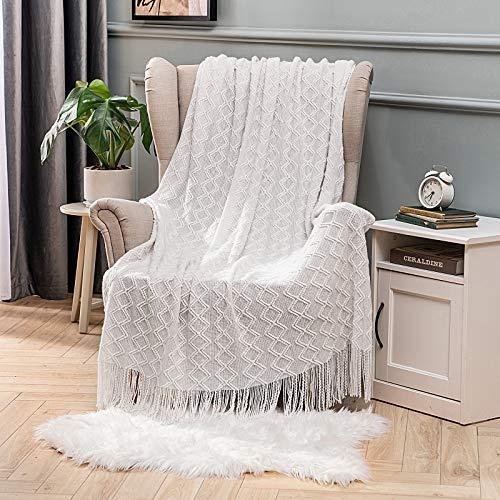 MIULEE Kuscheldecke Diamant Fleecedecke Decke Weich Flauschig Einfarbig Wohndecken Couchdecke Sofadecke Blanket für Bett Sofa Schlafzimmer Büro, 125x150 cm Weiß
