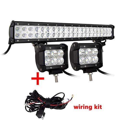 SKYWORLD LED-Flutlicht, zweireihig, 50,8 cm, 126 W, 10-30 V, wasserdicht, für Geländewagen, 4 x 4 + 2 x 18 W 10,2 cm Flutlicht LED-Pods Arbeitsleuchte mit Kabelbaum, Kit