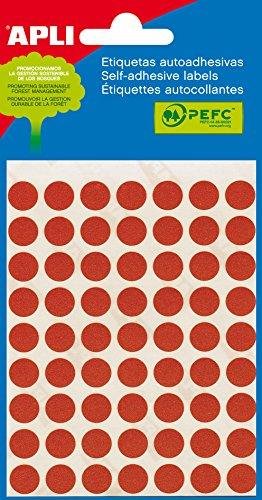 APLI 2053 - Etiquetas, Rojo, diámetro 10, 5 hojas