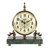 Reloj de sentado retro, numerales árabes Dial Mármol base Metal Cobertura de alambre de alambre de alambre de cobre Relojes para sala de estar, cocina, oficina y decoración del hogar (color: verde osc