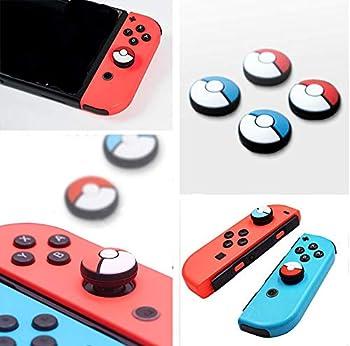 Silicone Analog Thumb Stick Grips Caps Joystick Cap Cover for Nintendo Switch NS Joy-Con Controller Sticks Skin Joy Con Caps for Pokemon Pokeball Go  Joy-con 4 Pcs