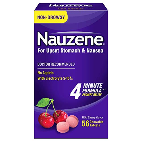 Nauzene - Non-drowsy Upset Stomach & Nausea Relief - Wild Cherry Flavor Chewable Tablets - 56 Ct