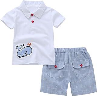 Hirolan Kleinkind Baby Bekleidungsset Kinderbekleidung Junge Karikatur Stickerei Wal Oberteile T-Shirt Kurze Hose Outfits Kleider Strampler Overall T-Shirt Babyausstattung
