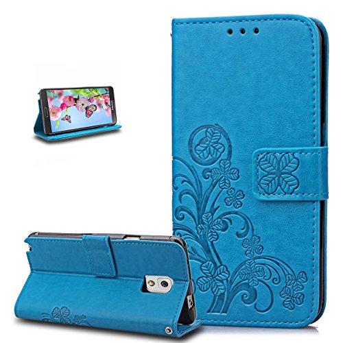 ikasus Coque Galaxy Note 3 Etui Gaufrage Trèfle Fleur Motif Housse Cuir PU Housse Etui Coque Portefeuille Protection supporter Flip Case Etui Housse Coque pour Galaxy Note 3,Bleu