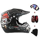 New_Soul 4pcs Cascos de Motocros Casco de Cross Adulto Fantastic FS945 con Gafas Protectoras Guantes Mask (esqueleto de la cabeza)