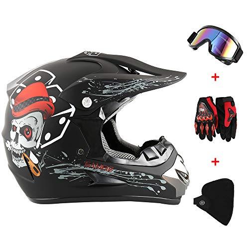 LoveStory Fantastic FS945 Casco da Cross ATV Motocross MTB Quad Occhiali&Guanti&Maschera (#4)