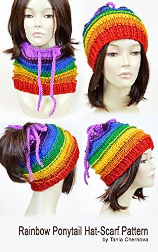 Rainbow Beanie with Ponytail Hole