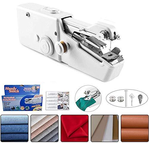 Mini Máquina de Coser Portátil –Gullen Máquina de coser de mano, máquina de coser rápida y práctica para tela, ropa, tela para niños uso en el hogar o viajes
