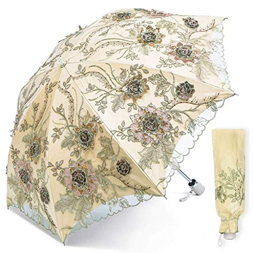 ZHENAO Sun Umbrella Doble Sunscreen Uv Protección Femenina Encaje 2 Pliegue 3D Bordado Floral Paraguas Reutilizable/E