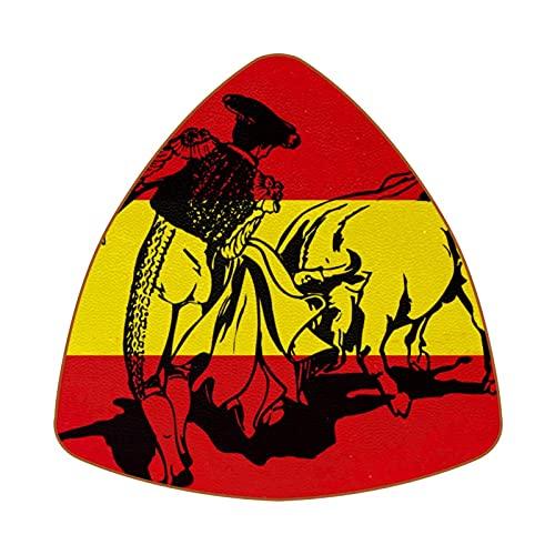 Bennigiry Charging Bull In A Bullfight On Spanish Flag - Juego de 6 posavasos de piel con diamante resistente al calor