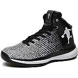 Zapatillas de baloncesto para hombre, con alta luz, amortiguación de luz, antiesquí, transpirables, para exterior, para mujer y niños, color Blanco, talla 36 EU