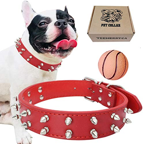 teemerryca Leather Spiked Studded Dog Collars with a Squeak Ball Gift for Medium Large Dogs Like Pit Bull/Bulldog/Husky Labrador/German Shepherd, Red, Small 14.1-18.1 inches