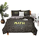 DRAGON VINES Hotel Luxury Bed Sheets Mathematics Classroom Decor Christmas Toddler Bed Sheets Dark Blackboard Word Math Equations Geometry Axis W68 xL85 Dark Brown White Yellow