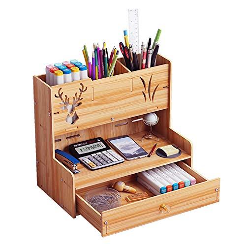 [シャンディニー] 卓上収納ボックス 引き出し オーガナイザー ペン立て 木製 ペンホルダー 収納 ナチュラルカラー