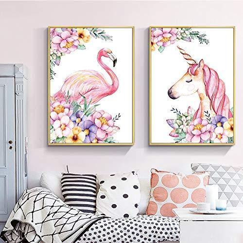 Pink Flamingo Einhorn, 11CT auf Leinwand gedruckt, DMC Kreuzstich Fabric, Chinesisch Kreuzstich-Muster DIY Needlework Kreuzstich-Malerei