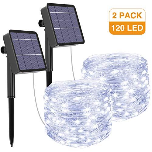[2 Pack] Litogo Zonne Fairy Lights Buitenshuis, 12m 120 LED Zonne Tuinverlichting 8 Modi Waterdichte koperdraad Decoratieve Solar String Lights voor tuin, terras, poort, tuin, bruiloft, feest (koel wit)