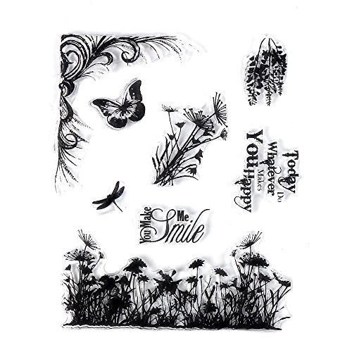 DECORA 1 pcs The Butterfly and Flowers Clear Stamp for Card Decoration