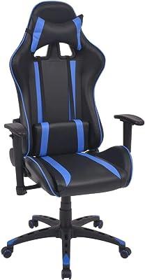 Xinglieu Silla de Oficina Racing reclinable de Piel sintética Azul Taburete Oficina sillas de Escritorio