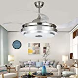 KPIBEST 42 inch Bluetooth Music Ceiling Fans with Lights and Remote Control, Modern Invisible Retractable Blades Chandelier Fan Lighting with 3 Color Dimmable for Dining Living Room Bedroom