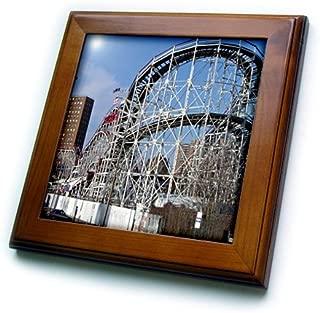 3dRose ft_1192_1 Coney Island Roller Coaster Framed Tile, 8 by 8-Inch
