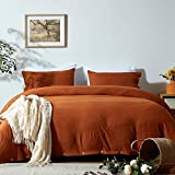 NexHome Duvet Cover Sets Twin Size Rust/Burnt Orange Double Brushed Microfiber Button Closure & Corner Ties-Breathable and Soft-2pcs