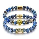 The Stars – Leones Pulsera de perlas de Jaspe Azul Imperial Juego de 2