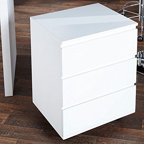 DESIGN DELIGHTS BÜRO ROLLCONTAINER Move Schreibtisch Regal aus Holz Hochglanz Weiss von Xtradefactory
