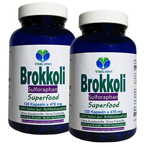 BROKKOLI Broccoli natürliches Sulforaphan & Indol-3-Carbinol - 240 (2x120) Kapseln - Antioxidantien & Vitamine C E K, B-Komplex + Calcium Magnesium Eisen Zink Kalium - OHNE ZUSATZSTOFFE. 26820-2