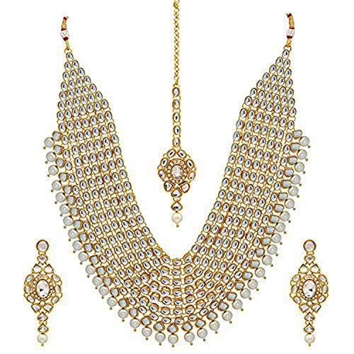 Aheli - Juego de collar de boda tradicional indio Kundan con capas étnicas, collar de novia con maang Tika y pendientes festivos para mujer