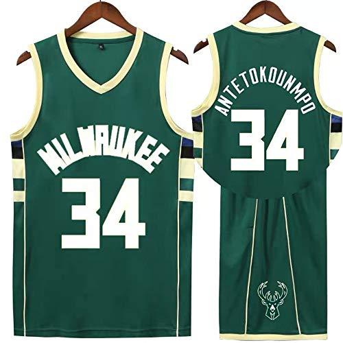 Sheki Milwaukee Bucks # 34 Antetokounmpo Jersey .Completi Basket Uomo. Bambino Abbigliamento Sportivo da Allenamento (Verde, XL)