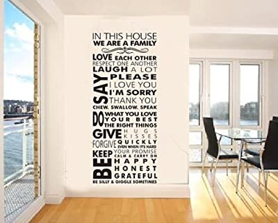 Amaonm® Quote Words in This House We Are a Family Wall Decals Removable Vinly Art Decor, Wall Stickers & Murals, Home Décor Accents Wall Decor for Bedroom Living Room Decoration
