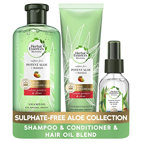 Herbal Essences Bio Renew Aloe & Mango Sulphate Free Shampoo, Hair Conditioner and Hair Oil Set, with Argan Oil & Aloe to Repair Surface Damage, A Sulfate free, Hydrating Hair Treatment Set