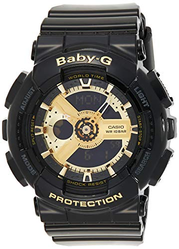 Casio Women s BA-110-1ACR Baby-G Goldtone Analog-Digital Display and Black Resin Strap Watch