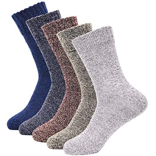 Mens Warm Wool Socks, SIMIYA 5 Pairs Mens Casual Crew Winter Socks Thick Soft Comfort Crew Socks For Men(US Size 6-12)
