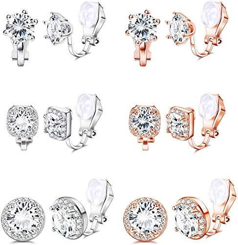 Yadoca 6 paia di orecchini a clip per donna con zirconi cubici orecchino senza foro rotondo quadrato orecchini a clip set di gioielli tonalità argento oro rosa