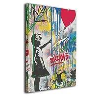 SkyDoor J パネル ポスターフレーム 女の子 ハートの風船 インテリア アートフレーム 額 モダン 壁掛けポスタ アート 壁アート 壁掛け絵画 装飾画 かべ飾り 50×40