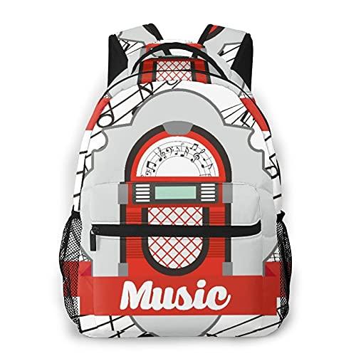 Kanxdecor Lässiger Rucksack,Jukebox Old Vintage Music Radio Box Cartoon B,Travel Bookbag With Zipper,For Business, School, Work, Laptop Bookbag 16'X11.5'X8'