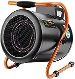 Calentador de ventilador eléctrico industrial de 3000 W con protección contra sobrecalentamiento y 3 configuraciones de calor para garaje, taller, invernadero, cobertizo, caravana, almacén, negro